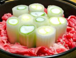 桜井花筵堂すき焼割り下で葱すき焼き
